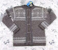 NORDSTRIKK Norway Fair Isle Pure New Wool Gray  Cardigan Sweater Pewter Clasps M