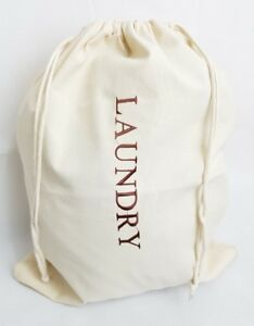 Cotton Laundry Storage travel Luggage sack Bag Embroidered with Drawstring Hotel