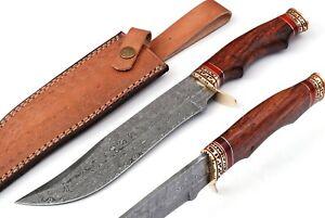 JS Custom Handmade Damascus Steel Hunting Fixed Blade Knife With Wood Handle