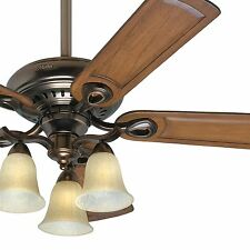 "Hunter 52"" Traditional Ceiling Fan with 3-Light Fixture and Caramel Fan Blades"