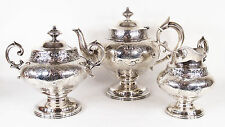 3-PIECE AMERICAN COIN STERLING SILVER TEA SET BY JONES, LOWS & BALL