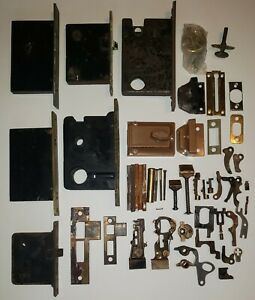 Antique Brass Mortise Door Locks Strikers Assorted Parts Lot Repair Restoration