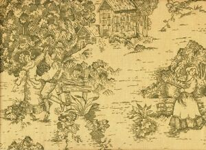 """2 Tab Top 84"""" Curtain Panels French Country Toile Document Green Cotton"""