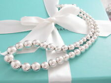 Auth Tiffany & Co Silver Graduated Bead Necklace Box Included