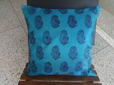 """Bed Cushion Cover Pillow Case Polyester Silk Block Print 18x18"""" Blue"""