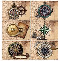 Nautical Compass & Map Glossy Finish Card Making Toppers - Crafts Embellishment