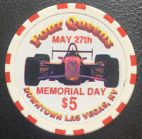 Four Queens Hotel $5.00 Memorial Day Indy Car Casino Chip 1996 Las Vegas Nevada