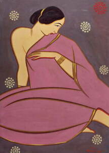 Jamini Roy Lady in a pink sari Poster Reproduction Paintings Giclee Canvas Print