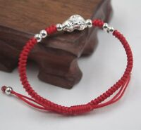 Solid 925 Sterling Silver Car and 4mm Bead Red Cord Knitted Bracelet Adjustable