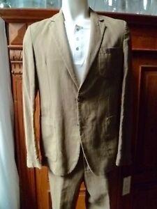AMI Alexandre Mattiussi  Suit, Jacket + Pants, sz. 48, khaki, Linon/Cotton NWT