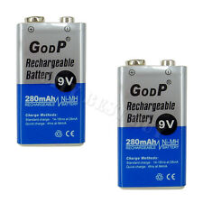 2 x 9V 9 Volt 280mAh NiMH Rechargeable Battery GODP PP3 Block