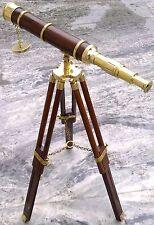 BRASS WOOD TELESCOPE WITH STAND MARITIME MARINE CHRISTMAS GIFT ITEM