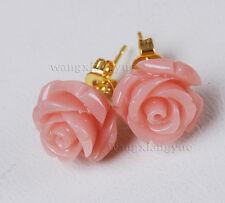 Wholesale 11Colors 12mm Sea Coral Hand Carved Flower Stud Earrings AAA Grade