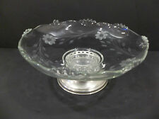 clear etched serving bowl footed silver plate base candlewick depression antique