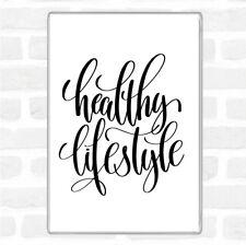 White Black Healthy Lifestyle Quote Jumbo Fridge Magnet