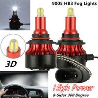 2X 8-side 360° 3D Car Lights 9005 LED Headlight Fog Bulbs Kit 200W 30000LM 6000K