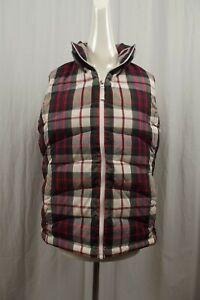 Lands' End Puffer Vest Down Jacket Womens Medium Coat Full Zip Goose Plaid