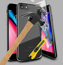 For Apple iPhone 8 Clear Gel Case Cover and Tempered Glass Screen Protector