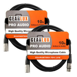 Gearlux XLR Microphone Cable, 10 Foot - 2 Pack