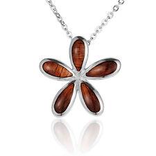 925 Sterling Silver Inlaid Hawaiian Koa Wood Plumeria Pendant ( sale !!!)