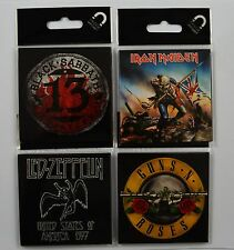 4 Collectable Music/Band Fridge Magnets - Sabbath, Iron Maiden, Guns Roses, Zep