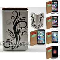 For iPhone 7 Plus SE 5 5s 6 6s Plus - Black Swirl Print Wallet Phone Case Cover