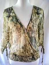 4e72ecda286 Baby Phat XL Womens Green Gold Metallic Thread Sheer Cold Shoulder Top