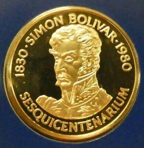1980 Panama 150 Balboa PROOF Gold Coin 150Th AnNIVERASRY OF SIMON BOLIVAR