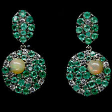 NATURAL MULTICOLOUR OPAL, GREEN EMERALD & CZ STERLING 925 SILVER EARRINGS