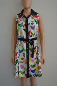 Jil Sander White/Multi-Colored Geometric Print Belted Shirt Dress 40/US 4