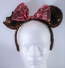Disney Exclusive Minnie Ears Sequins Chocolate Ice Cream Bar Headband NEW CUTE