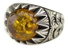 Sterling silver men ring handmade, crated amber stone, steel pen craft