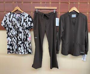 NEW Brown Print Scrubs Set With Medium Top, M Petite Pants, & Medium Jacket NWT