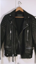 Mens Black AllSaints 'Kane' Leather Biker Jacket XS