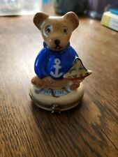 Limoges Trinket Box Teddy Bear with Sailboat Rochard Peint Main