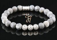 Larvikit Armband Bracelet Perlenarmband Silber Beads Buddha grau matt 8mm