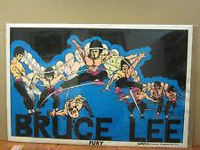 Vintage flocked Bruce Lee Fury black light Poster original 1975 3233