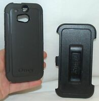 Genuine OtterBox Defender HTC ONE M8 BLACK Case Smart Cell Phone Shell holster