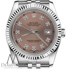 Ladies Rolex 26mm Datejust Salmon Color Dial with Diamond Accent RT Watch