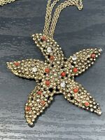 Vintage Rhinestone Starfish Pendant necklace With Gold  Double Chain 30""