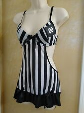 Rampage intimates Black white striped referee 2pc costume Nighty lingerie WM
