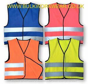 Kids Hi Vis High Viz Sleeveless Vest Children's Boys Visibility Safety Waistcoat