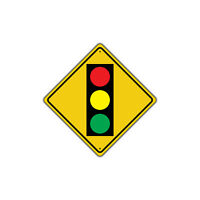 Traffic Light Ahead w/ Symbol Crossing Novelty Notice Aluminum Metal Sign