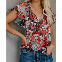 Womens Summer V Neck Short Sleeve T Shirt Floral Print Casual Blouse Loose Tops