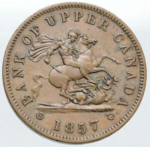 1857 UPPER CANADA Antique UK Queen Victoria Time PENNY BANK TOKEN Coin i87574