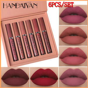 6Pcs/Set Matte Lipstick Set Long Lasting Lip Gloss Non-Stick Cup Liquid Lipstick