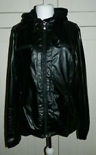 Womens Black PVC Casual Jacket With Jersey Hood Size XL - NWOT