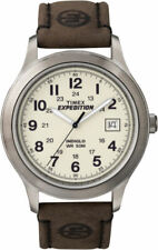 Timex Expedition 37mm Silver Brass Case and Brown Leather Band, Men's Watch (T49870)