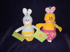 2 New Amscan Spring Easter Bunny & Chick Zippered Plush Goodies Holder