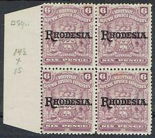 RHODESIA 1909 RHODESIA OVERPRINTED ARMS 6D BLOCK